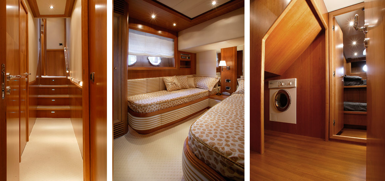 Alalunga Yacht - interni di lusso, rifiniture con legno pregiato