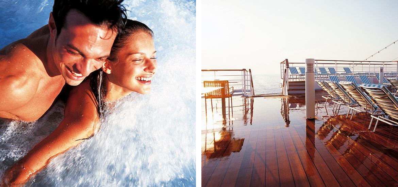 Costa Crociere coppia felice in vasca idromassaggio