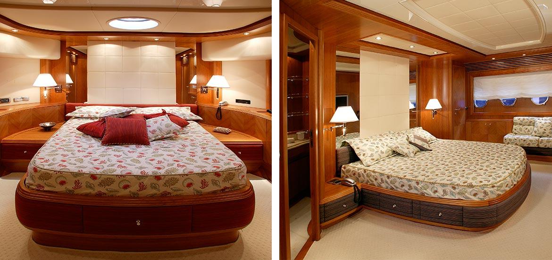 Interni Yacht cabine di lusso con letti
